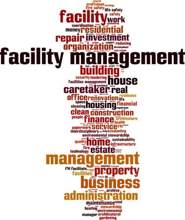 Facility management word cloud concept. Vector illustration Vectores