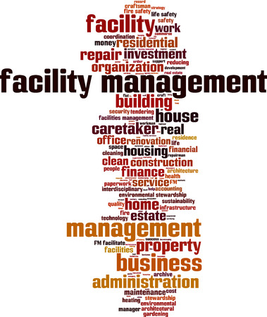 Facility management word cloud concept. Vector illustration Stock Illustratie