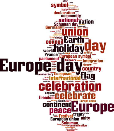 rn: Europe day word cloud concept. Vector illustration Illustration
