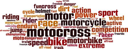 supercross: Motocross word cloud concept. Vector illustration