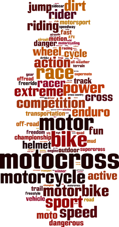 sidecar motocross racing: Motocross word cloud concept. Vector illustration