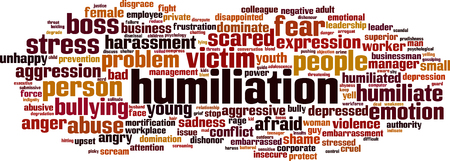 humility: Humiliation word cloud concept. Vector illustration Illustration