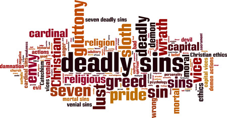 vices: Deadly sins word cloud concept. Vector illustration Illustration