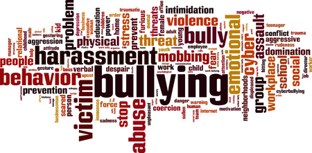 workplace: Bullying word cloud concept. Vector illustration