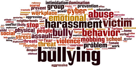 violence in the workplace: Bullying word cloud concept. Vector illustration