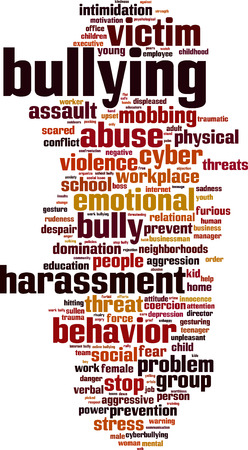 coercion: Bullying word cloud concept. Vector illustration