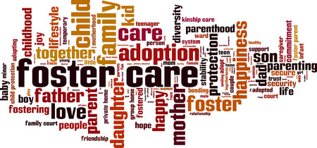 Foster care word cloud concept. Vector illustration Vector