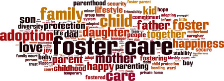 Foster care word cloud concept. Vector illustration
