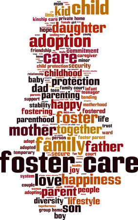 foster: Foster care word cloud concept. Vector illustration