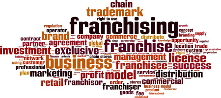 distribute: Franchising word cloud concept. Vector illustration