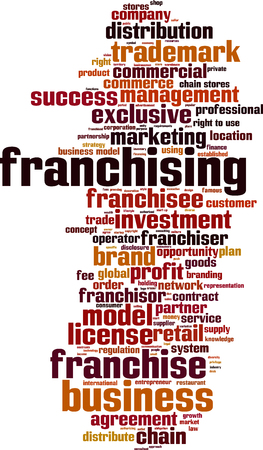 commercial law: Franchising word cloud concept. Vector illustration