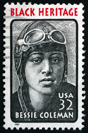 USA  CIRCA 1995: a stamp printed in the USA shows Bessie Coleman aviator she was the first female pilot of African American descent Black Heritage circa 1995