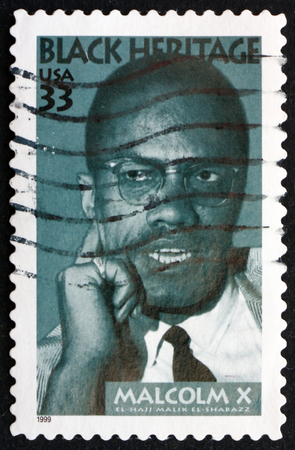 activist: USA  CIRCA 1999: a stamp printed in the USA shows Malcolm X Civil Rights Activist Black Heritage circa 1999 Editorial