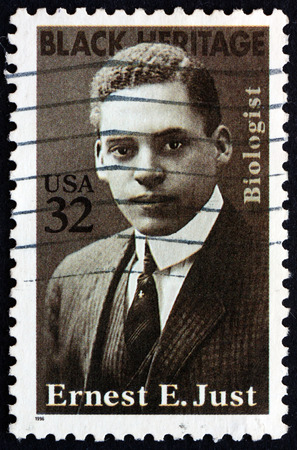 biologist: USA  CIRCA 1996: a stamp printed in the USA shows Ernest E. Just Marine Biologist Black Heritage circa 1996 Editorial