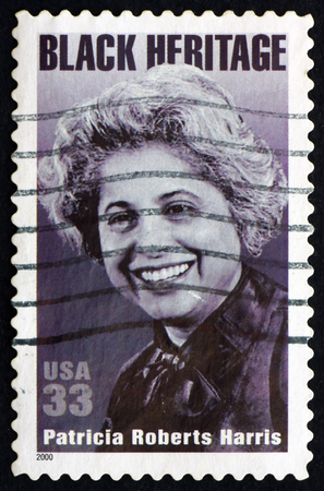 roberts: USA - CIRCA 2000: a stamp printed in the USA shows Patricia Roberts Harris, First Black Woman Cabinet Secretary, Black Heritage, circa 2000