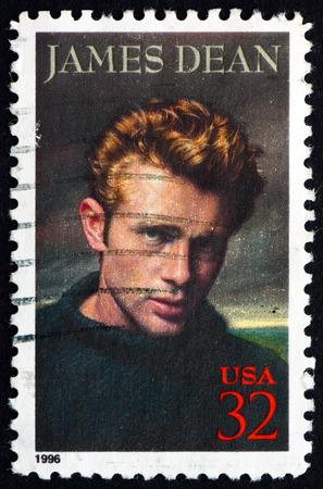 dean: USA - CIRCA 1996: a stamp printed in the USA shows James Dean, American Actor, circa 1996 Editorial