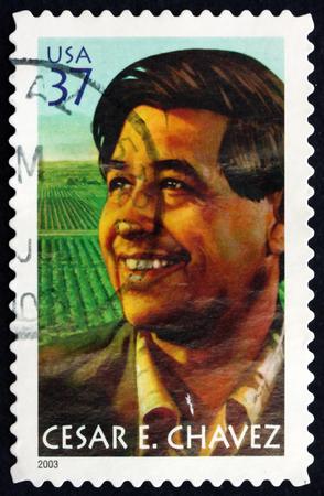 civil rights: USA - CIRCA 2003: a stamp printed in the USA shows Cesar E. Chavez, Labor Leader and Civil Rights Activist, circa 2003