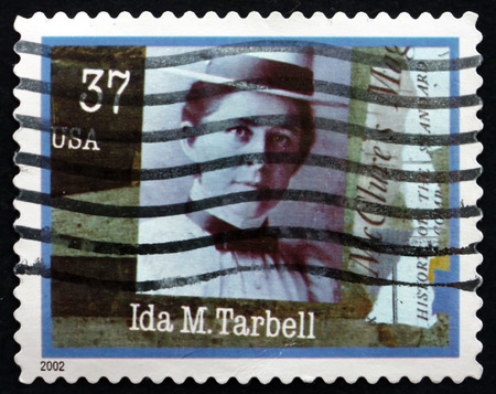 ida: USA - CIRCA 2002: a stamp printed in the USA shows Ida M. Tarbell, American Journalist, Teacher and Author, circa 2002 Editorial
