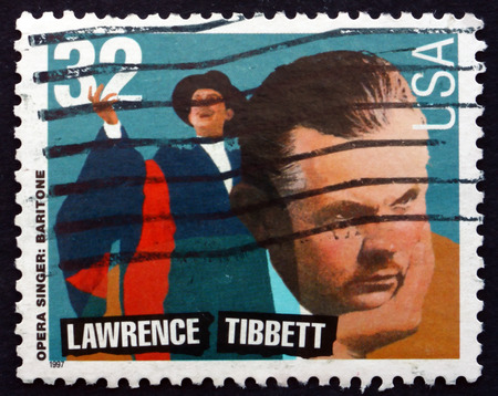 lawrence: USA - CIRCA 1997: a stamp printed in the USA shows Lawrence Tibbett, American Opera Singer, circa 1997 Editorial