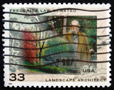father in law: USA - CIRCA 1999: a stamp printed in the USA shows Frederick Law Olmsted, American Landscape Architect, the Father of American Landscape Architecture, circa 1999 Editorial