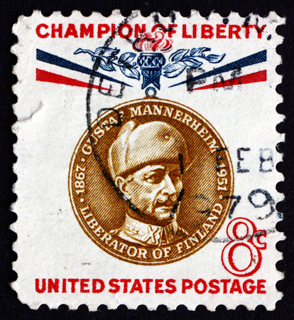 gustaf: USA - CIRCA 1960: a stamp printed in the USA shows Baron Gustaf Emil Mannerheim, Marshal and President of Finland, circa 1960 Editorial