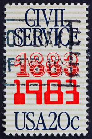 USA - CIRCA 1983: a stamp printed in the USA shows Civil Service, Anniversary, circa 1983