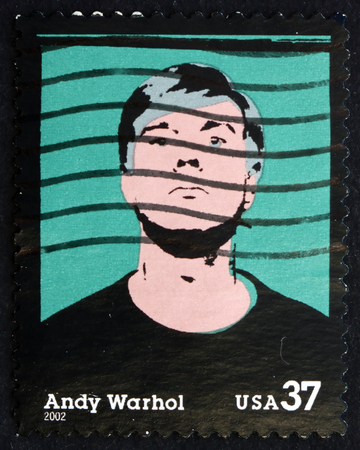 andy warhol: USA - CIRCA 2002: a stamp printed in the USA shows Andy Warhol, American Artist, a Leading Figure in the Visual Art Movement known as Pop Art, circa 2002