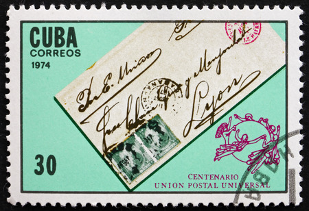 upu: CUBA - CIRCA 1974: a stamp printed in the Cuba shows Letter, UPU Centenary, circa 1974