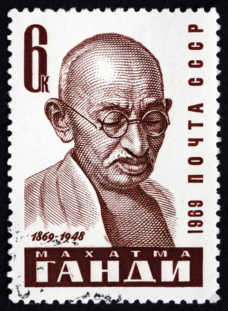 indian postal stamp: RUSSIA - CIRCA 1969: a stamp printed in the Russia shows Mahatma Gandhi, portrait, leader of Indian independence movement in British-ruled India, circa 1969