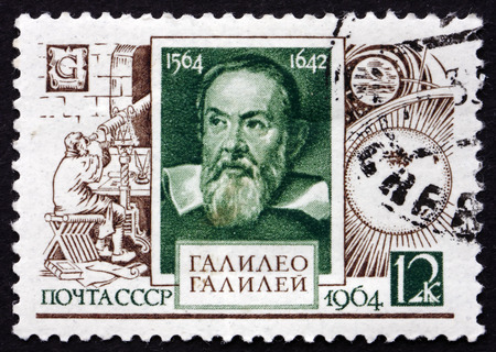 physicist: RUSSIA - CIRCA 1964: a stamp printed in the Russia shows Galileo Galilei, Astronomer and Physicist, 400th Birth Anniversary, circa 1964 Editorial