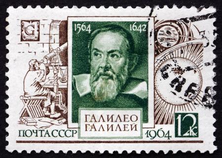 RUSSIA - CIRCA 1964: a stamp printed in the Russia shows Galileo Galilei, Astronomer and Physicist, 400th Birth Anniversary, circa 1964 Editorial