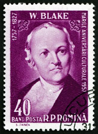 printmaker: ROMANIA - CIRCA 1958: a stamp printed in the Romania shows William Blake, English Poet, Painter and Printmaker, circa 1958