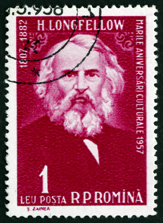 henry: ROMANIA - CIRCA 1958: a stamp printed in the Romania shows Henry Wadsworth Longfellow, American Poet and Educator, circa 1958