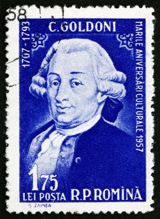 playwright: ROMANIA - CIRCA 1958: a stamp printed in the Romania shows Carlo Goldoni, Italian Playwright and Librettist, circa 1958