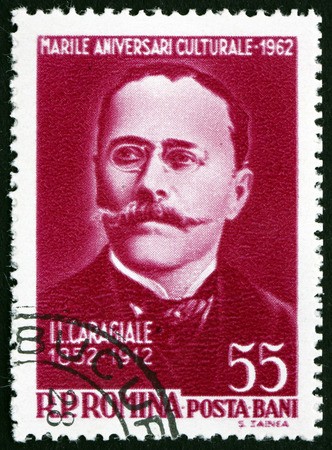 ion: ROMANIA - CIRCA 1962: a stamp printed in the Romania shows Ion Luca Caragiale, Romanian Playwright, Writer, Poet, Journalist, circa 1962