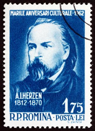 pensador: RUMANIA - CIRCA 1962: un sello impreso en Rumania muestra Alexander Ivanovich Herzen, escritor ruso y pensador, alrededor del a�o 1962