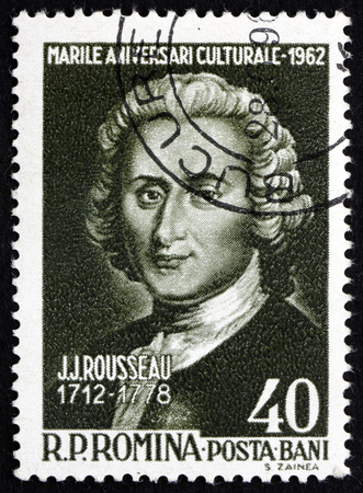 jacques: ROMANIA - CIRCA 1962: a stamp printed in the Romania shows Jean Jacques Rousseau, Genevan Philosopher, Writer and Composer, circa 1962
