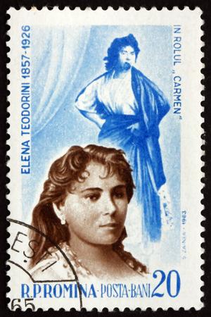 the soprano: ROMANIA - CIRCA 1964: a stamp printed in the Romania shows Elena Teodorini as Carmen, Romanian Operatic Soprano, circa 1964