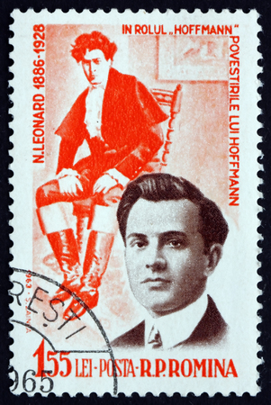 tenor: ROMANIA - CIRCA 1964: a stamp printed in the Romania shows Nicolae Leonard as Hoffman, Romanian Operatic Tenor, circa 1964 Editorial