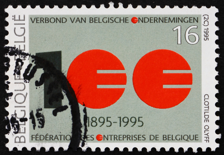 centenary: BELGIUM - CIRCA 1995: a stamp printed in the Belgium shows Association of Belgian Enterprises, Centenary, circa 1995