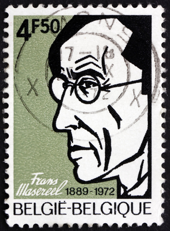 frans: BELGIUM - CIRCA 1972: a stamp printed in the Belgium shows Frans Masereel, Flemish Painter and Graphic Artist, Wood Engraver, circa 1972 Editorial