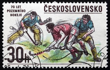 czechoslovakia: CZECHOSLOVAKIA - CIRCA 1978: a stamp printed in the Czechoslovakia shows Bandy Hockey, Winter Sport, circa 1978