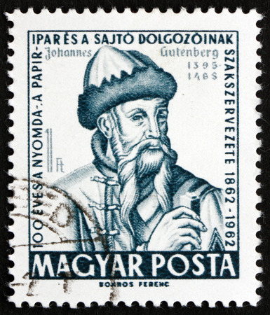 the publisher: HUNGARY - CIRCA 1962: a stamp printed in the Hungary shows Johannes Gutenberg, German Blacksmith, Goldsmith, Printer and Publisher, Inventor of the Printing Press, circa 1962