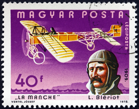 manche: HUNGARY - CIRCA 1978: a stamp printed in the Hungary shows Louis Bleriot and La Manche, French Aviator, Inventor and Engineer, circa 1978