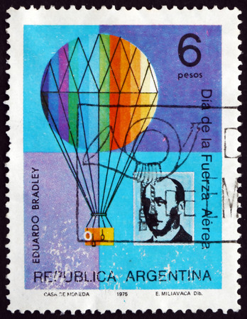 eduardo: ARGENTINA - CIRCA 1975: a stamp printed in the Argentina shows Eduardo Bradley and Balloon, Argentine Pilot and Balloonist, circa 1975