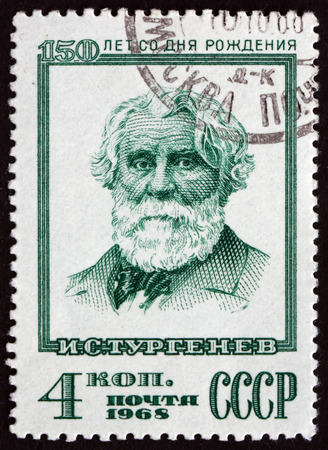 novelist: RUSSIA - CIRCA 1968: a stamp printed in the Russia shows Ivan Sergeyevich Turgenev, Was a Russian Novelist, Short Story Writer and Playwright, circa 1968 Editorial