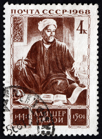 linguist: RUSSIA - CIRCA 1968: a stamp printed in the Russia shows Alisher Navoi, Was a Central Asian Turkic Poet, Writer, Politician, Linguist and Mystic, 525th Birth Anniversary, circa 1968 Editorial