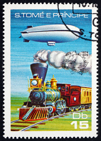 steam locomotive: SAO TOME AND PRINIPE - CIRCA 1978: a stamp printed in Sao Tome and Principe shows Dirigible and Steam Locomotive, circa 1978