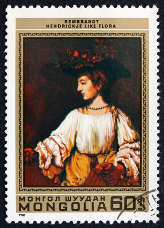 rembrandt: MONGOLIA - CIRCA 1981: a stamp printed in Mongolia shows Hendrickje like Flora, Painting by Rembrandt, circa 1981