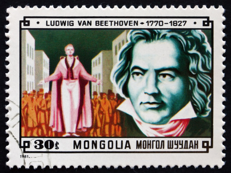 ludwig: MONGOLIA - CIRCA 1981: a stamp printed in Mongolia shows Ludwig van Beethoven, German Composer and Pianist, and Scene from Fidelio, circa 1981